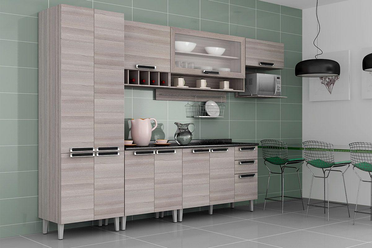Paneleiro de Cozinha Itatiaia Jazz IPLDA70 PRF Madeira c 4 Portas Profundo  # Armario De Cozinha Ferreira Costa