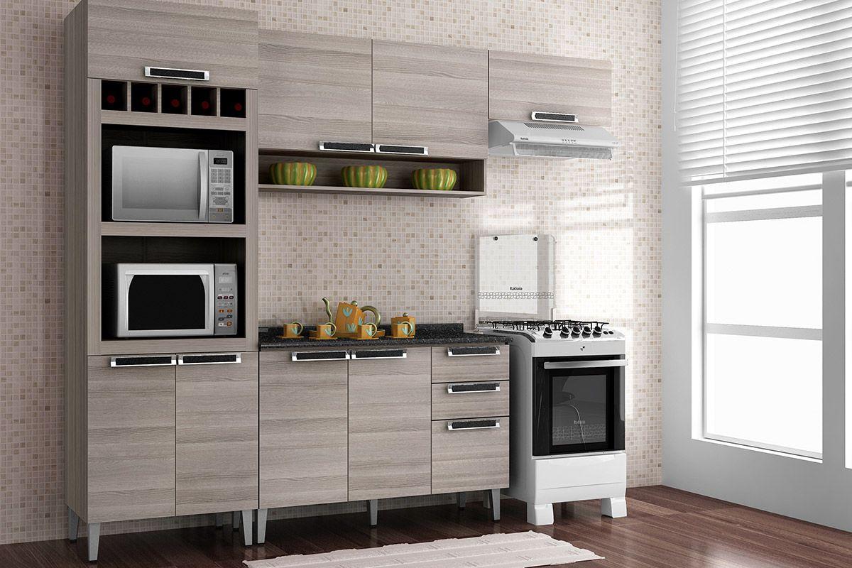 Gabinete (Balcão) de Cozinha Itatiaia Jazz IG3G2 120 Madeira Triplo c  #987033 1200 800