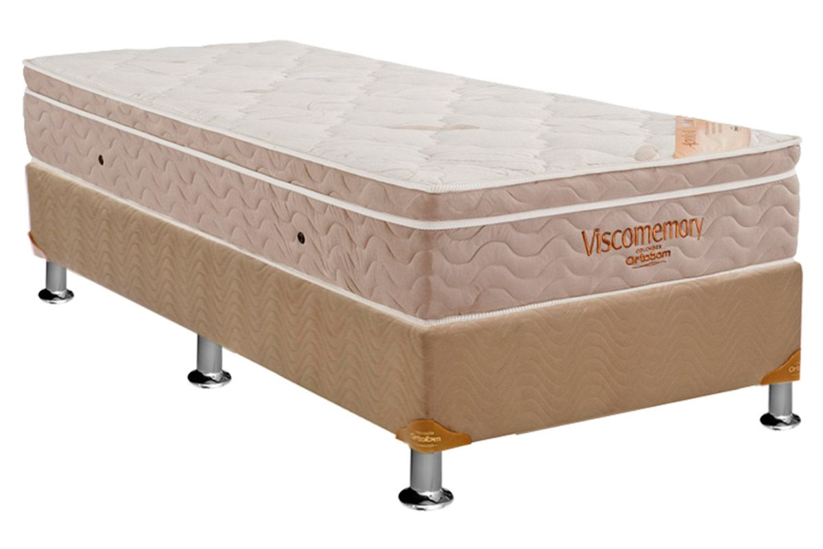 Conjunto Cama Box - Colchão Ortobom Apollo Viscomemory Bamboo + Cama Box Nobuck Bege Crema