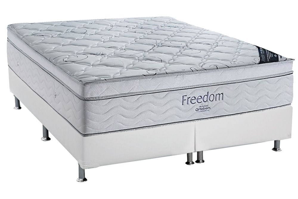 Conjunto Box - Colchão de Molas Pocket Freedom Ortobom  + Cama Box Universal Couríno White