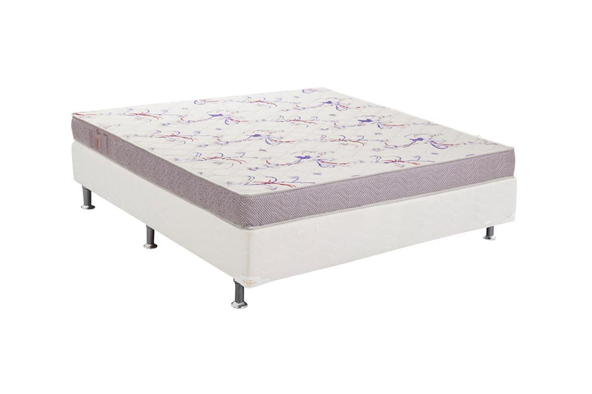 Conjunto Cama Box - Colchão Ortobom Physical Resistente + Cama Box Base Universal Courino White