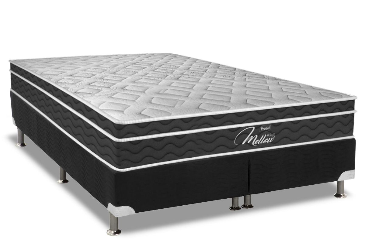 Conjunto Cama Box - Colchão Probel de Mola Pocket Mellow Soft Pillow Euro + Cama Box Universal Nobuck Nero Black
