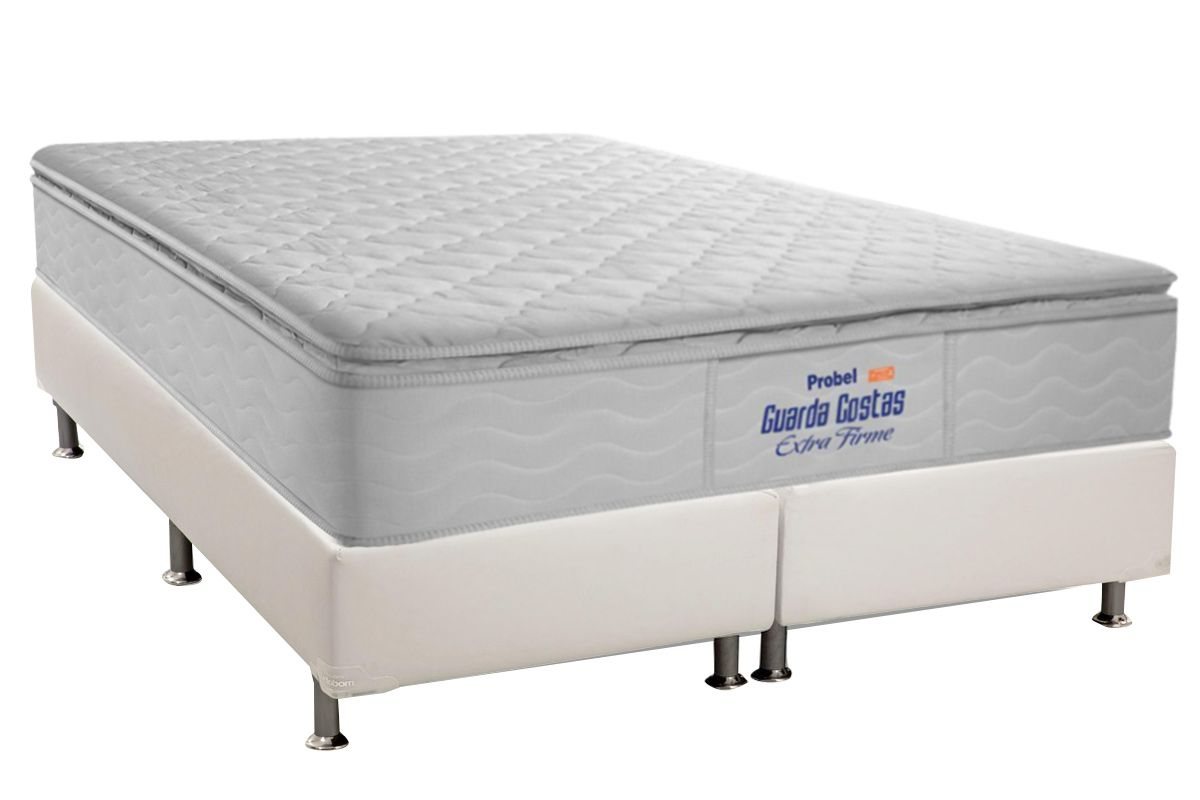 Conjunto Cama Box - Colchão Probel de Espuma Guarda Costas Extra Firme Pillow Top + Cama Box Universal Courino White