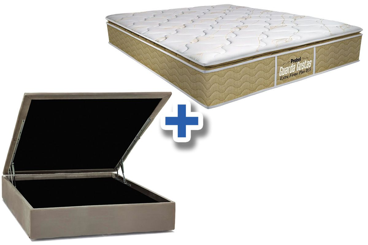 Conjunto Cama Box Baú - Colchão Probel de Espuma Guarda Costas Extra Firme Plus D33 Pillow Top + Cama Box Baú Nobuck Bege