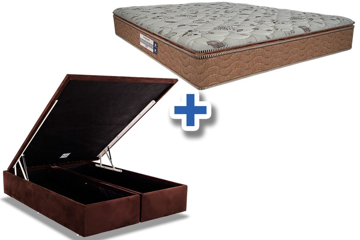 Conjunto Cama Box Baú - Colchão Probel de Espuma ProDormir Advanced D45 Pillow Super + Cama Box Baú Nobuck Rosolare Café