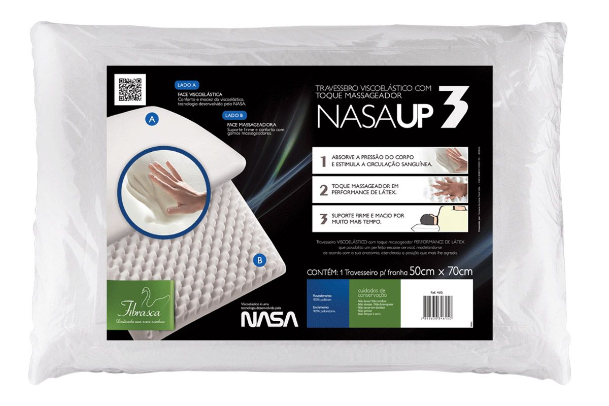 Travesseiro Fibrasca Nasa UP3 Duplaface Viscoelástico c/ Massageador
