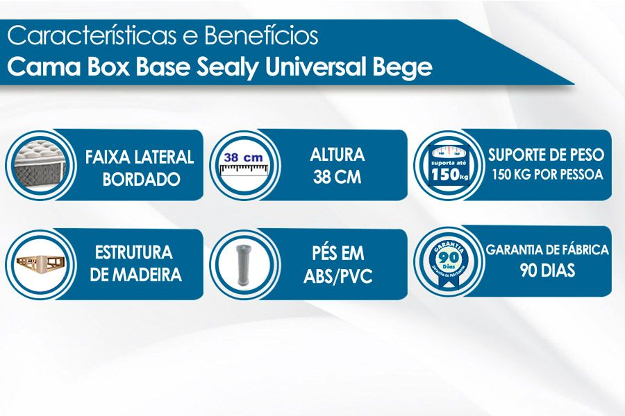 Cama Box Base Sealy Universal Branca