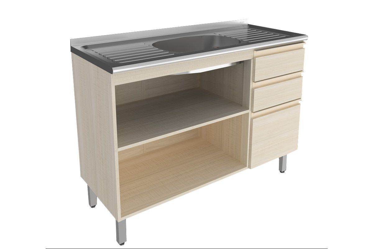 Gabinete de Cozinha Itatiaia Belíssima Madeira Horizontal 2 Portas e  #7C694F 1200x800