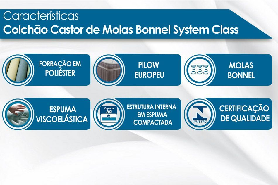 Colchão Castor de Molas Bonnel System Class One Face
