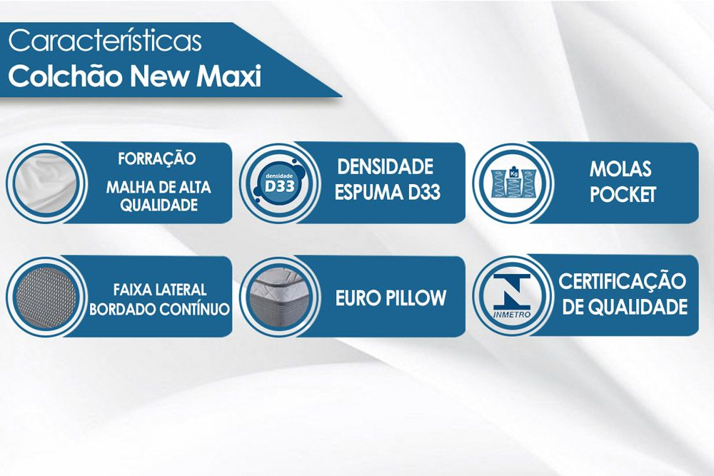 Conjunto Box - Colchão Luckspuma de Mola Pocket New Maxi Pillow In One Side + Cama Box Universal Nobuck Cinza