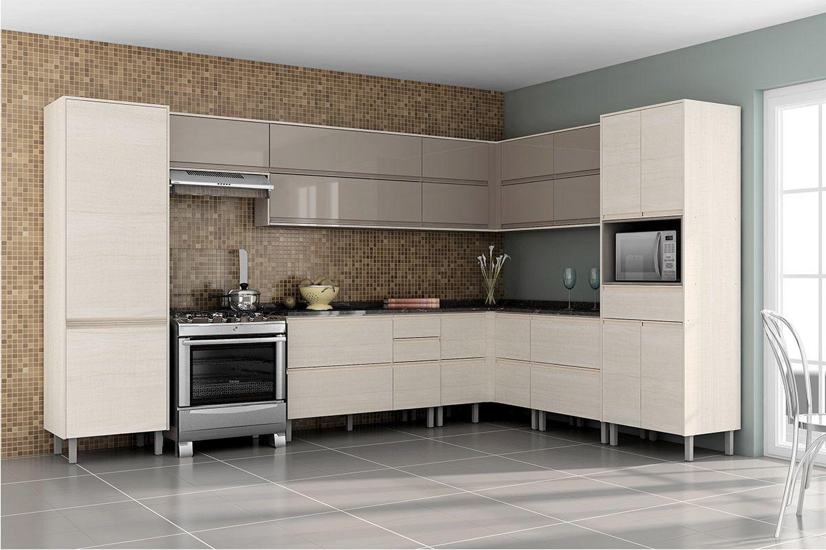 Kits com Gabinete de Cozinha Itatiaia Belíssima Madeira Canto Reto 4  #5D4E3D 1200 800
