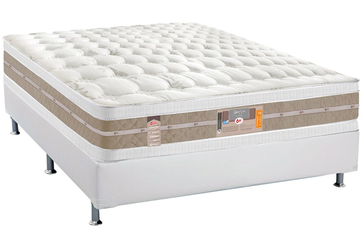 Conjunto Cama Box - Colchão Castor Molas Pocket Silver Star Air Double Face+Cama Box Universal Courino Bianco