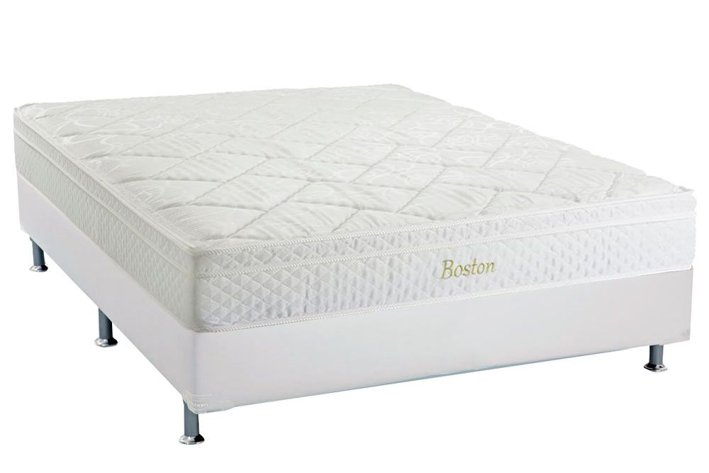 Conjunto Cama Box - Colchão Herval de Molas Pocket Boston Euro Pillow + Cama Box Courino Bianco