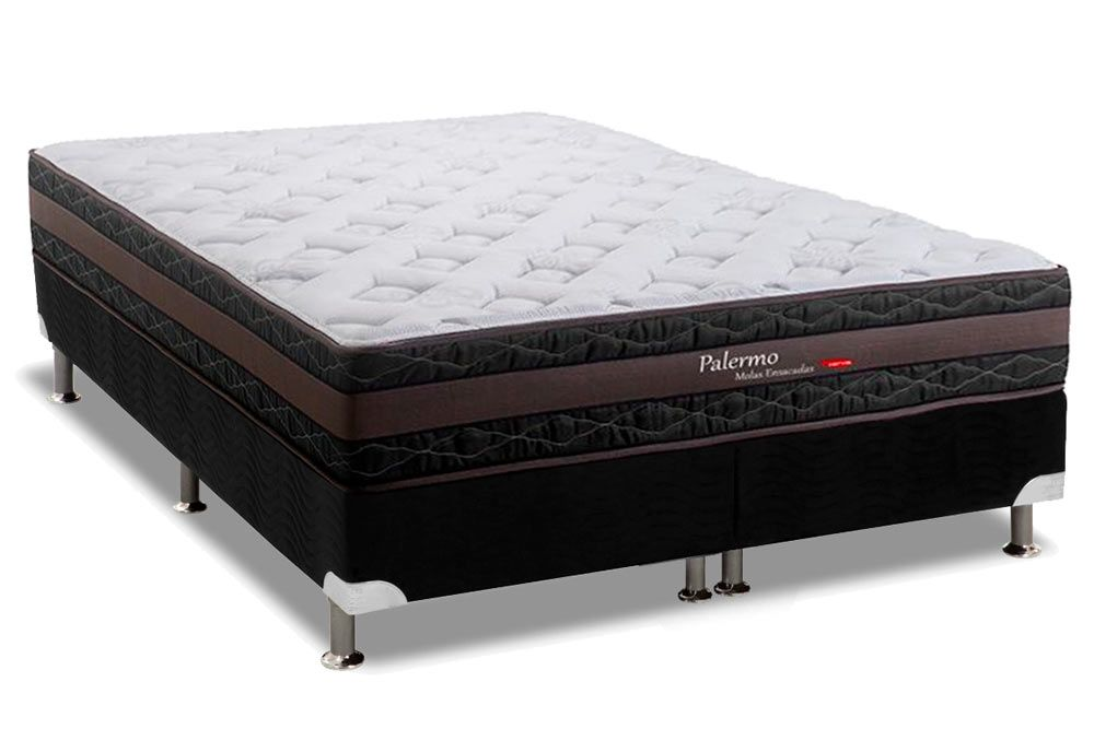 Conjunto Cama Box - Colchão Herval de Molas Pocket Palermo Pillow Top + Cama Box Nobuck Nero Black