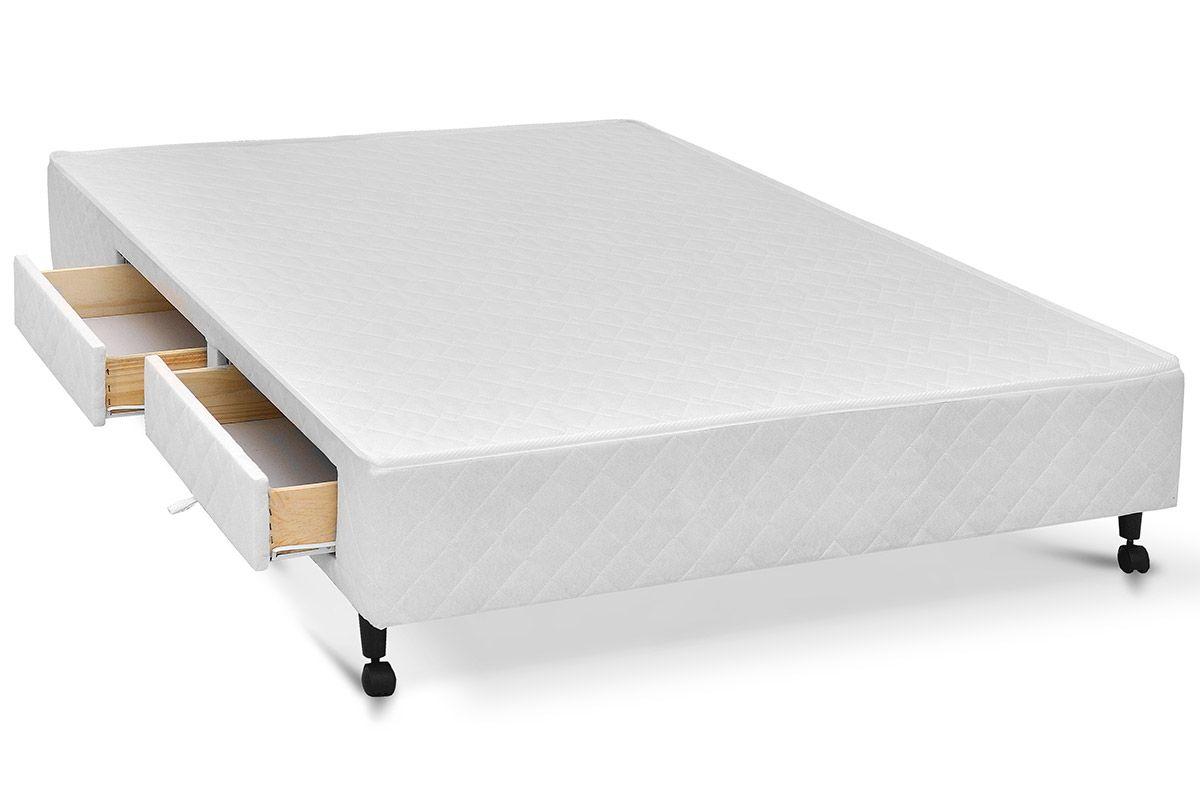 Cama box base castor poli c gavetas tecido white costa for Cama queen costa rica