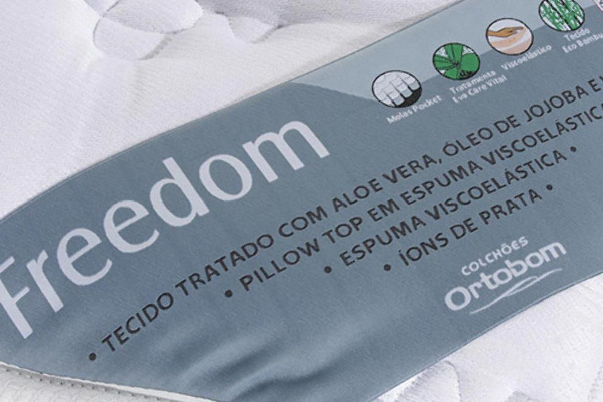Colchão Ortobom de Molas Pocket Freedom Pillow Top Viscoelástico