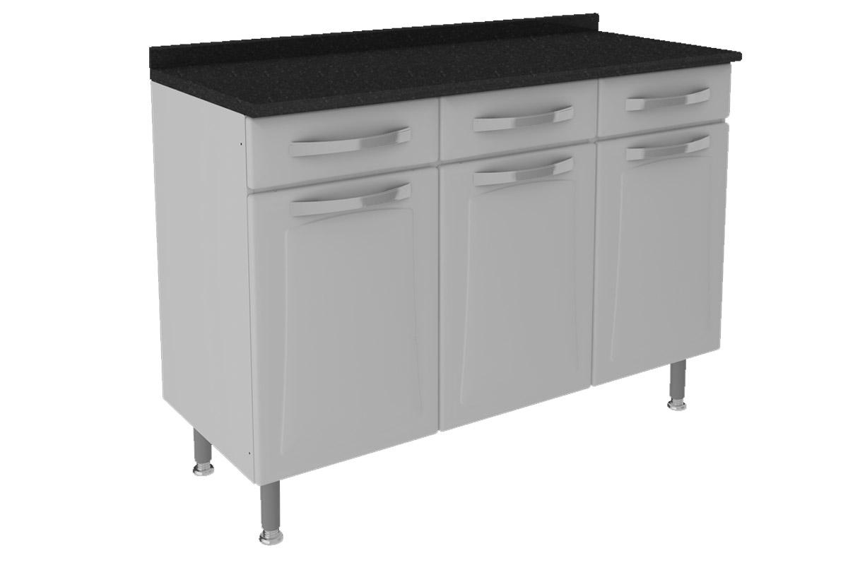 Gabinete (Balcão) de Cozinha Itatiaia Itanew IG3GD 120 Aço c/ 3  #232323 1200 800