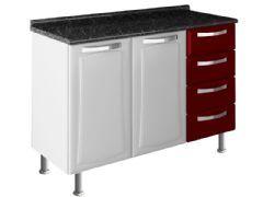 Gabinete (Balcão) de Cozinha Itatiaia Itanew Aço 2 Portas + 4 Gavetas c/ Tampo 120cm (IG3G4-120) - Cor Preto (c/ Branco)
