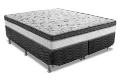 Conjunto Cama Box - Colchão Ortobom de Molas Pocket Physical + Cama Box Universal Courino Black