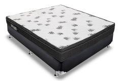 Conjunto Cama Box - Colchão Ortobom de Espuma D45 Light  Selado + Cama Box Universal Couríno Black
