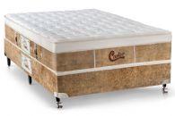 Conjunto Box - Colchão Castor de Molas Pocket Gold Star Green +  Cama Box Universal Couríno White