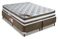 Conjunto Cama Box - Colchão Orthocrin de Molas Pocket Exception Plus Látex + Cama Box Universal Nobuck Rosolare Café