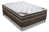 Conjunto Box - Colchão Orthocrin de Molas Pocket Celebrità Látex Bamboo + Cama Box Universal Nobuck Rosolare Café