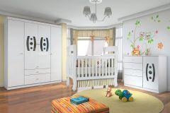 Quarto Infantil (Bebê) Completo Santos Andirá Doçura Sorriso QI15 (Guarda Roupa+Berço+Cômoda)