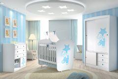 Quarto Infantil (Bebê) Completo Santos Andirá Doçura Encanto QI16 (Guarda Roupa+Berço+Cômoda)