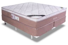 Conjunto Cama Box - Colchão Luckspuma de Molas Pocket Maxi Prime New + Cama Box Universal Nobuck Rosolare Café