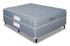 Conjunto Cama Box - Colchão Paropas de Molas Bonnel  Marcelly Prata + Cama Box Universal Couríno Black