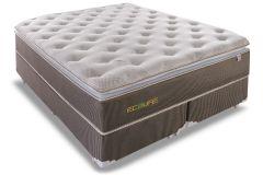Conjunto Cama Box - Colchão Sealy de Molas Posturetech/Posturepedic Ecolife + Cama Box Universal Nobuck Rosolare Café