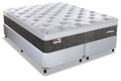 Conjunto Cama Box - Colchão Sealy de Molas Posturepedic Titanium Wheatmore Viscoelástico + Cama Box Universal Couríno White