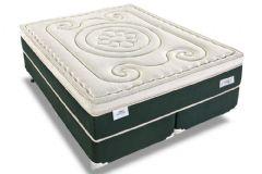 Conjunto Cama Box - Colchão Sealy de Molas Superlastic Mystique Látex + Cama Box Universal Nobuck Black