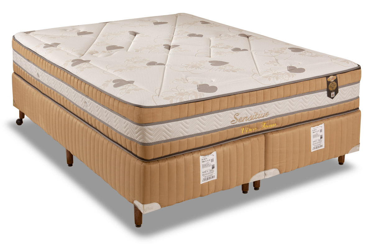 Conjunto Cama Box - Colchão Orthoflex de Molas Pocket Sensitive Foam + Cama Box Universal Nobuck Rosolare Café