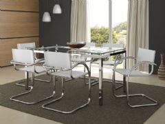 Conjunto Mesa de Jantar Carraro - Base Cromada 328 c/ Tampo de Vidro 160cm + 6 Cadeiras 320 Cromada
