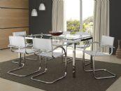 Conjunto de Mesa Carraro 328 Base de Aço Cromado c/ Tampo de Vidro 160cm + 6 Cadeiras Cromada 320
