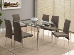 Conjunto Mesa de Jantar Carraro - Base Cromada 346 c/ Tampo de Vidro 130cm + 6 Cadeiras 306 Cromada