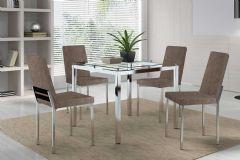 Conjunto Mesa de Jantar Carraro - Base Cromada 326 c/ Tampo de Vidro Incolor 95cm + 4 Cadeiras Cromadas 399