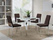 Conjunto Mesa de Jantar Carraro Cromada 326 c/  6 Cadeiras 399 e Tampo de Vidro 95cm