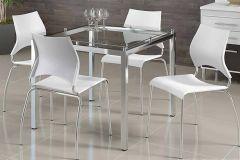 Conjunto Mesa de Jantar Carraro - Base Cromada 326 c/ Tampo de Vidro 95cm + 4 Cadeiras 357 Cromada