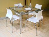 Conjunto de Mesa Carraro 326 Base Aço Cromada c/ Tampo de Vidro 95cm + 4 Cadeiras Cromada 357