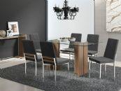 Conjunto Mesa de Jantar Carraro Cromada 1400 c/ 6 Cadeiras Cromadas 399 Base Madeirado c/ Tampo de Vidro 160cm