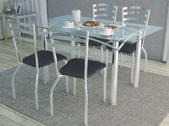Conjunto Mesa de Jantar Kappesberg - Base Cromada Elba c/ Tampo de Vidro 140cm + 4 Cadeiras Portugal
