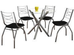 Conjunto Mesa de Jantar Kappesberg - Base Cromada Volga c/ Tampo de Vidro 95cm + 4 Cadeiras Italia