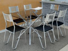Conjunto Mesa de Jantar Kappesberg - Base Cromada Volga c/ Tampo de Vidro 140cm + 6 Cadeiras Nápoles