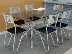 Conjunto Mesa de Jantar Kappesberg Cromada Volga c/ 6 Cadeiras Nápoles e Tampo de Vidro 140cm