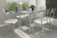 Conjunto Mesa de Jantar Kappesberg - Base Cromada Elba c/ Tampo de Vidro 140cm + 6 Cadeiras Nápoles