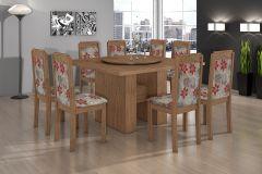 Conjunto Mesa de Jantar Lopas - Base Iracema c/ Tampo Madeirado Giratório 140cm + 6 Cadeiras Pérola
