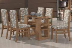 Conjunto Mesa de Jantar Lopas - Base Madeirado Copacabana c/ Tampo de Vidro 180cm + 6 Cadeiras Copacabana